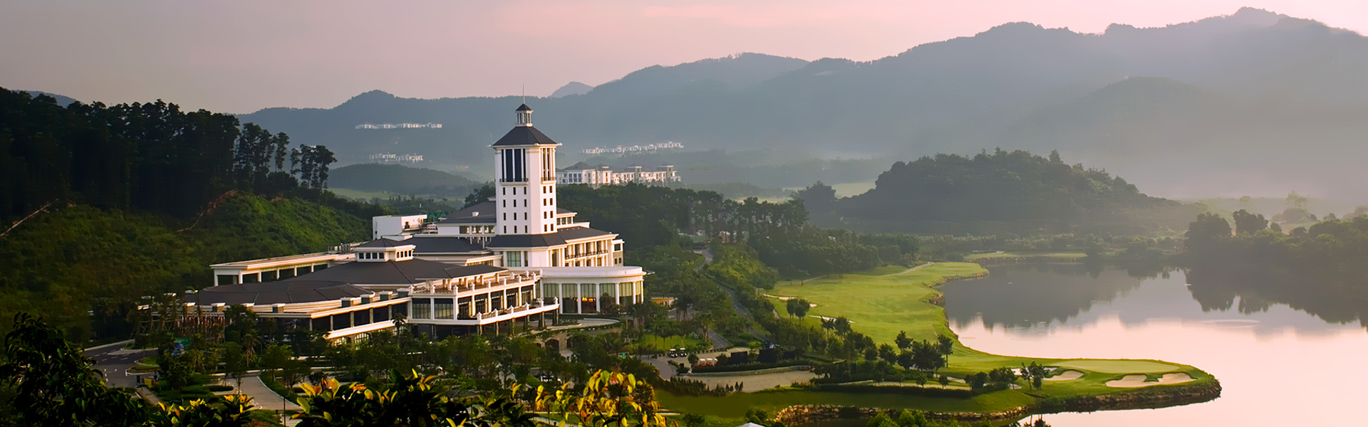 Olazabal Course Mission Hills China Clubhouse and 18th hole